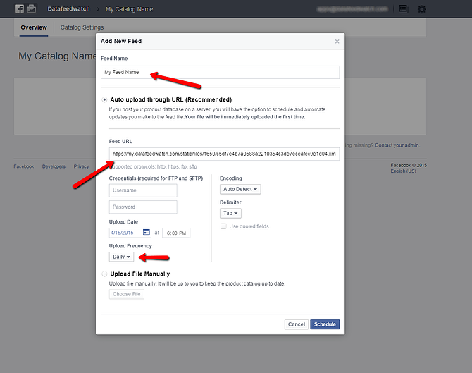 Facebook-Daten-Feed-Scheduling